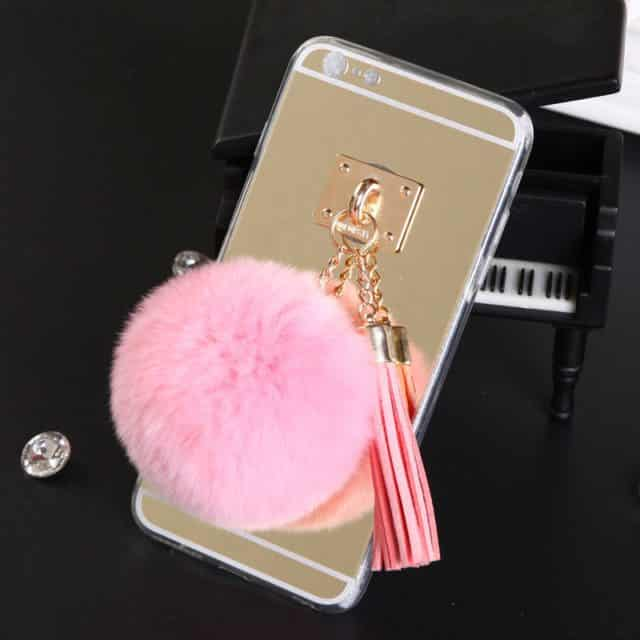 New Hot Mirror Metal Buckle cover With Colorful Fur Ball Tassels For Iphone 5 5S 6 6S 6Plus 6SPlus YC1315
