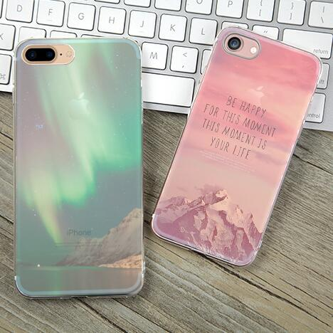 Soft TPU Case Cover For Apple iPhone 5 5S SE 6 6S 6Plus 7 7Plus Cases Phone Shell New Arrival Snow Mountain City Stars Landscape