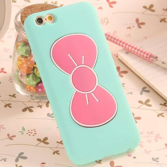 Lovely Candy color 3D Bow-knot Silicon Case For iPhone 7/ 7 plus/6 6S /5 5SE /4 4S