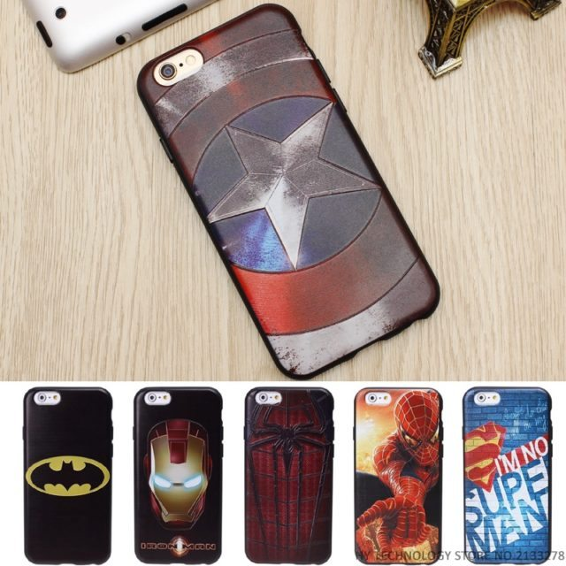 (New)Marvel Super Heros 3D Emboss Phone Cases For iPhone 5 5S SE/ 6 6S/ 7 Plus