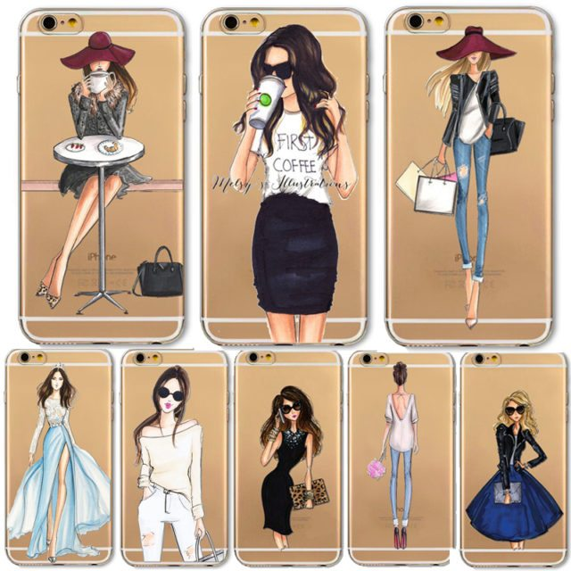 Fashion Girl Case For iPhone 7/ 6 6S/ Plus 5 5S /SE 6Plus/